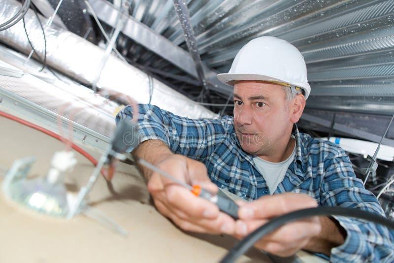 活梯的电工安装照明设备对天花板在办公室 免版税图库摄影