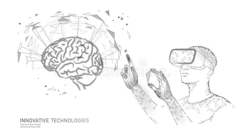 活跃人脑VR耳机下个水平menthal能力 人戴着眼镜增添了现实几何蓝色发光 皇族释放例证