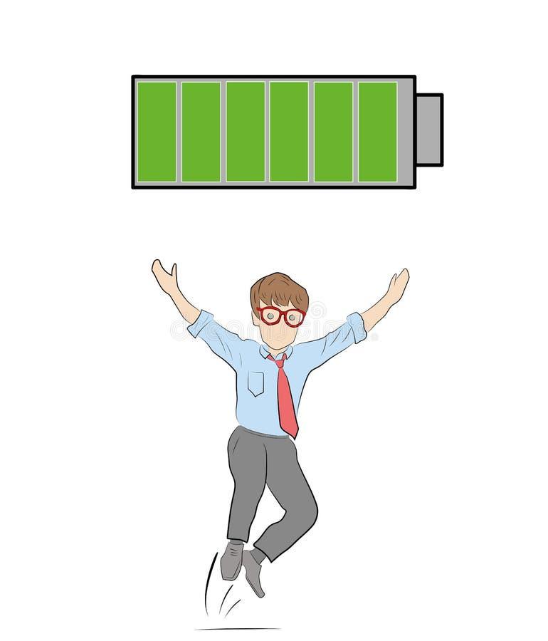 活跃人 充分地被充电的电池 人的概念休息了和有很多力量 也corel凹道例证向量 库存例证
