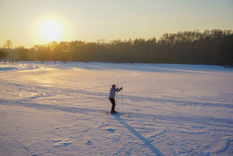 活跃在巨大的冻湖的年轻人速度滑雪在可爱的冬天日落期间 免版税库存图片