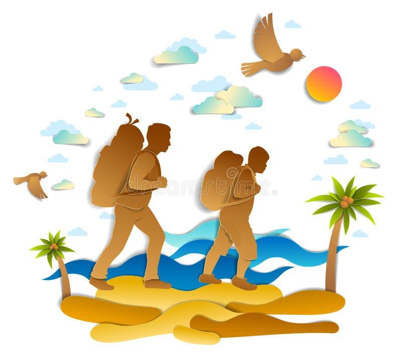 活跃步行通过与棕榈和海波浪在背景中,在天空的鸟的海海滩的父亲和儿子 父权和渊源 库存例证