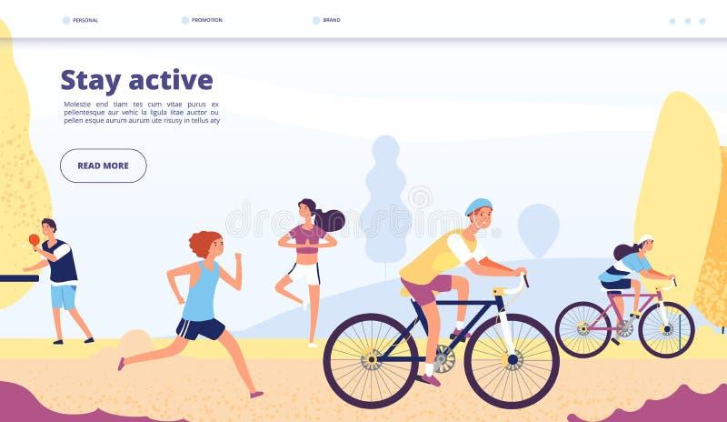 活跃生活方式着陆 循环的人们,健身锻炼 人骑马自行车,运行在秋天公园,运动应用程序 向量例证