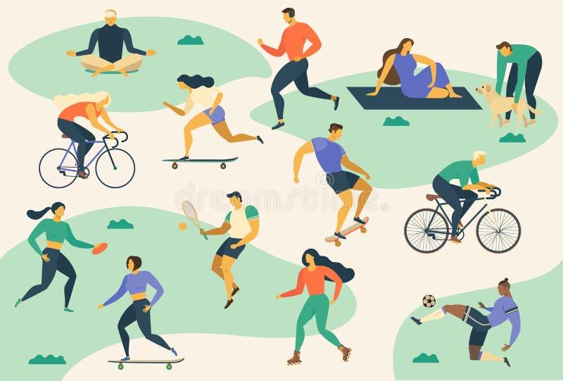 活跃青年人健康生活方式 溜冰鞋,赛跑,自行车,奔跑,步行,瑜伽 五颜六色设计的元素 传染媒介illustrat 库存例证