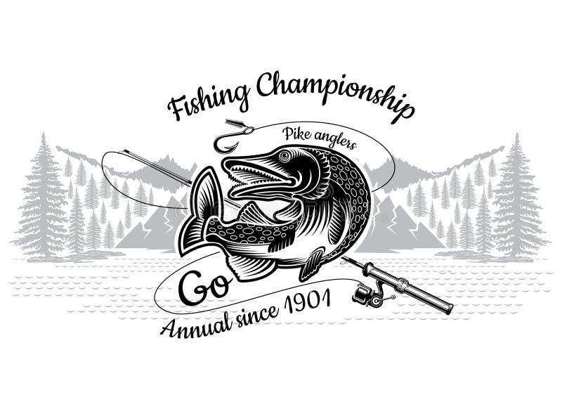 派克与横渡的钓鱼竿的鱼弯有在engrving的样式的风景的 钓鱼,冠军和体育俱乐部的商标 向量例证