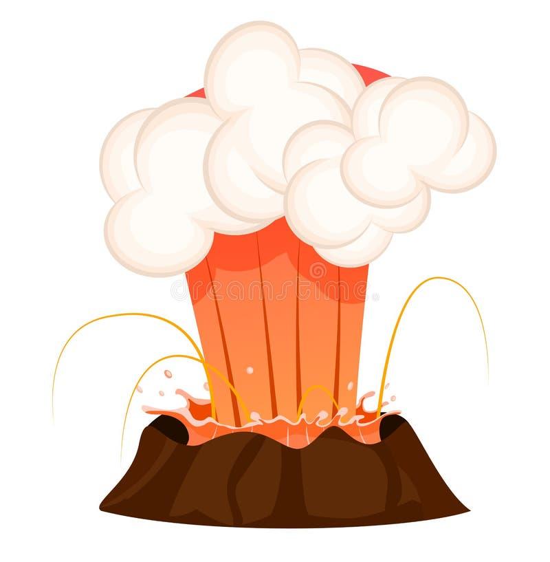 流出热的熔岩,白色云彩强的喷气机  库存例证