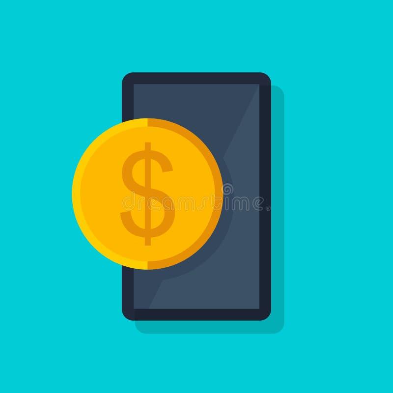 流动付款传染媒介概念 无线汇款 现代智能手机的平的设计样式传染媒介例证与 向量例证
