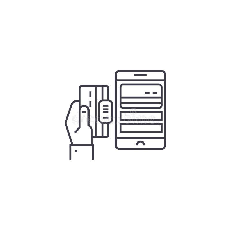 流动付款传染媒介线象,标志,在背景,编辑可能的冲程的例证 库存例证