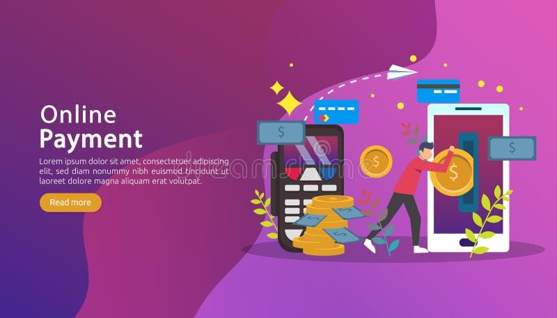 流动付款或汇款概念 与微小的人字符的电子商务市场购物的网上例证 E 向量例证