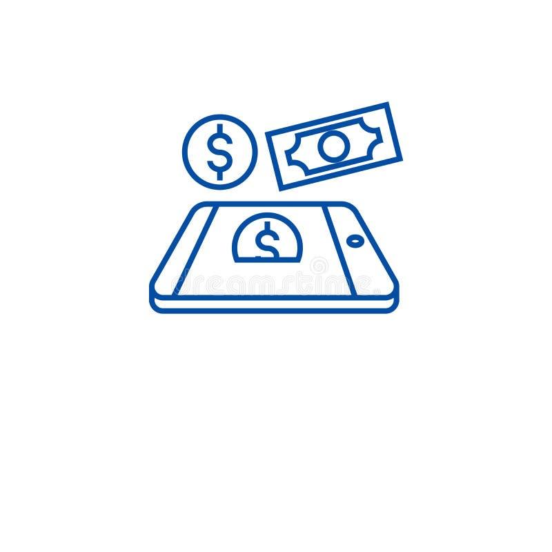流动付款线象概念 流动付款平的传染媒介标志,标志,概述例证 库存例证