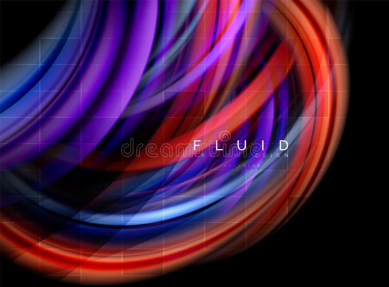 流动使波浪抽象背景,流动的发光的颜色行动概念,时髦抽象布局模板光滑为 皇族释放例证