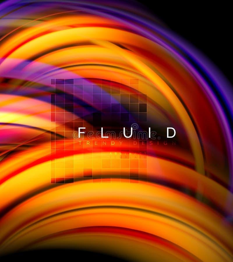 流动使波浪抽象背景,流动的发光的颜色行动概念,时髦抽象布局模板光滑为 向量例证