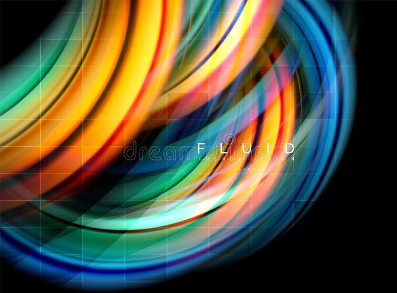 流动使波浪抽象背景,流动的发光的颜色行动概念,时髦抽象布局模板光滑为 库存例证