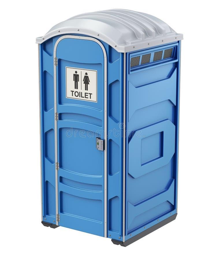 流动便携式的蓝色塑料洗手间 库存例证