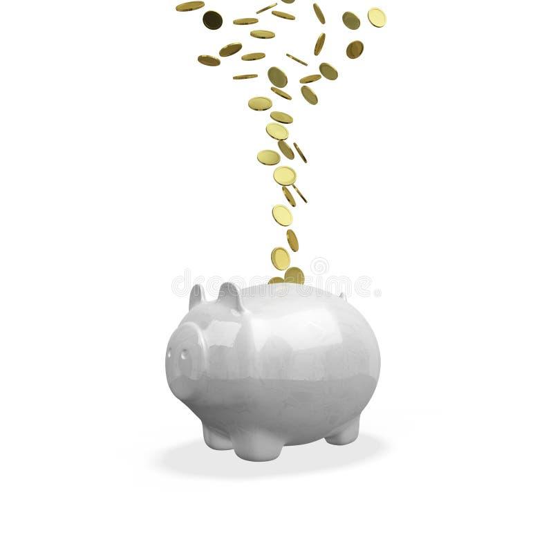 流动入存钱罐的金币 免版税库存照片