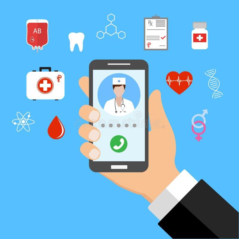 流动医学,网上医生 拿着有医疗app的手智能手机 库存例证