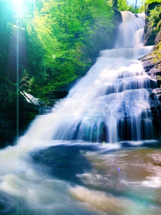 流动在夏天的Dingmans秋天 库存照片