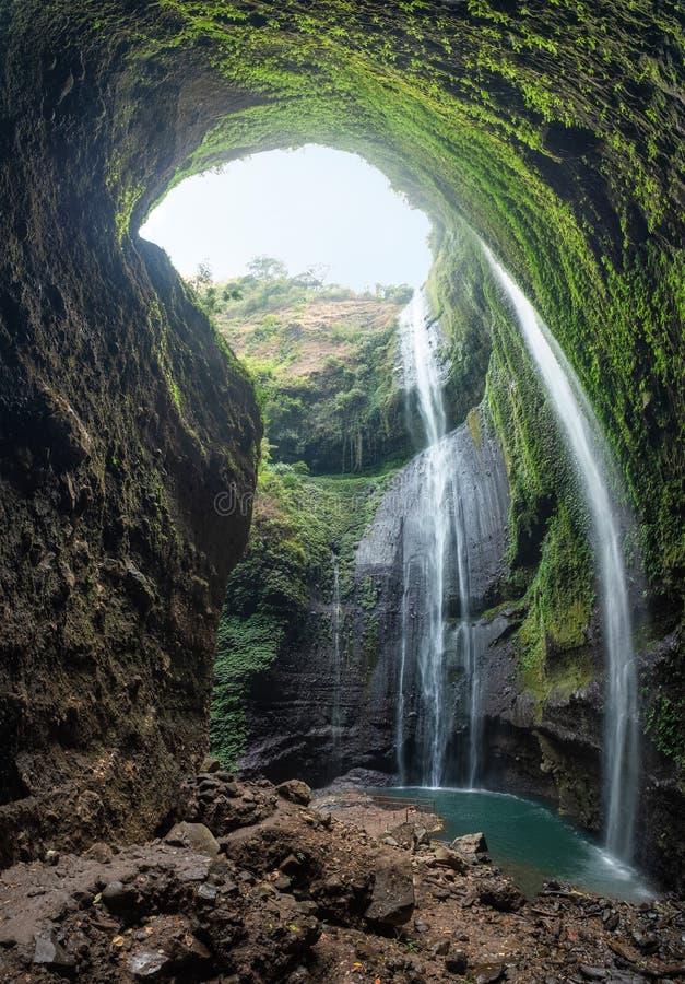 流动在岩石峭壁的庄严瀑布在热带雨林 免版税库存图片