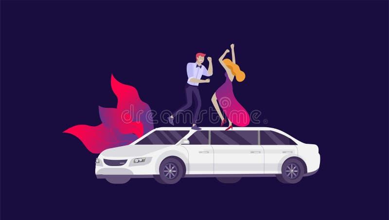 流动城市运输、在豪华大型高级轿车旁边的大型高级轿车分享与典雅的晚礼服的妇女的网上和人 向量例证