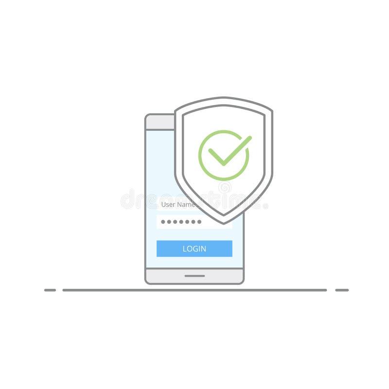 流动安全的概念 保护与一个绿色校验标志的图象在电话背景中 防护病毒和 向量例证