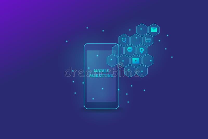 流动市场活动,显示在智能手机屏幕上的流动销售的文本,有发光的数字销售的象的,网横幅 向量例证