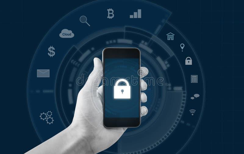 流动应用和互联网网上保安系统技术 使用流动巧妙的电话的手有锁和应用象的 库存例证