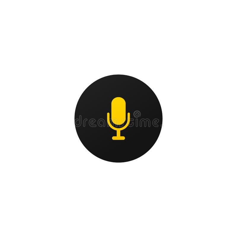 流动应用程序和网站的现代mic按钮 皇族释放例证