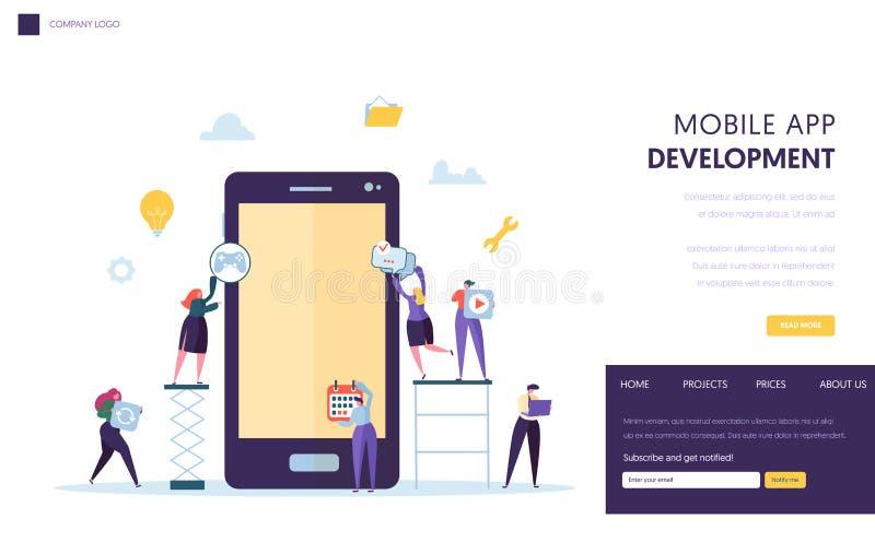 流动应用程序开发小组着陆页 在片剂屏幕上的软件开发商增进品德用户应用 向量例证