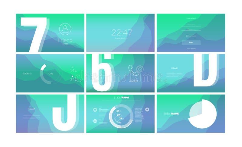 流动应用程序的现代UI屏幕设计有网元素的 向量例证