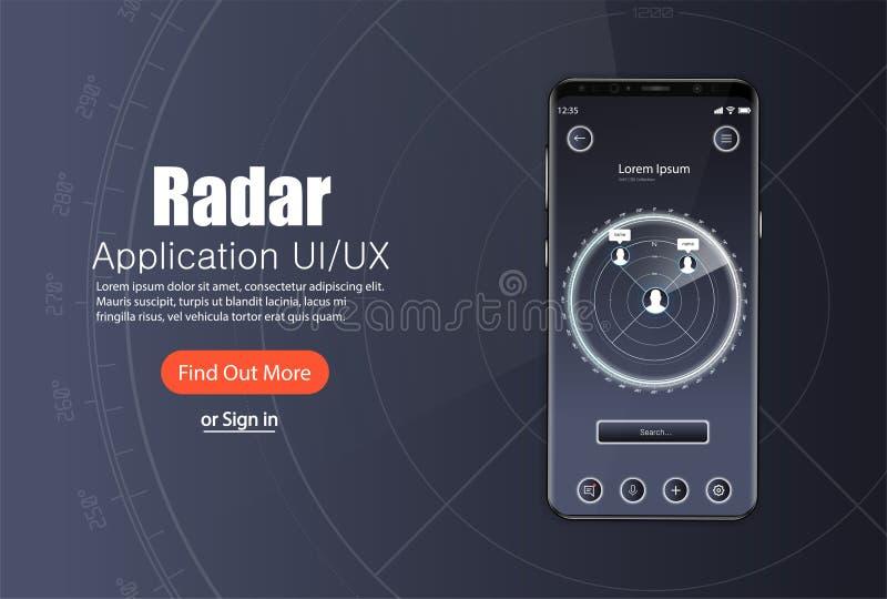 流动应用程序,与现代设计的雷达显示器模板 向量例证