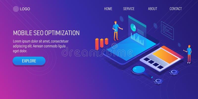 流动应用,数字营销,搜索引擎优化,流动seo优化,数据管理,网站发展a 皇族释放例证