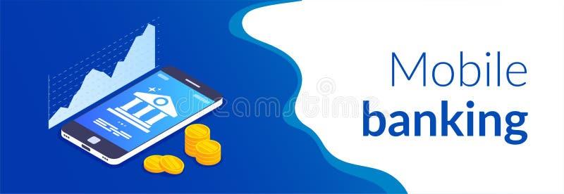 流动开户的概念 网上银行模板 r 硬币在机动性的背景堆积 库存例证