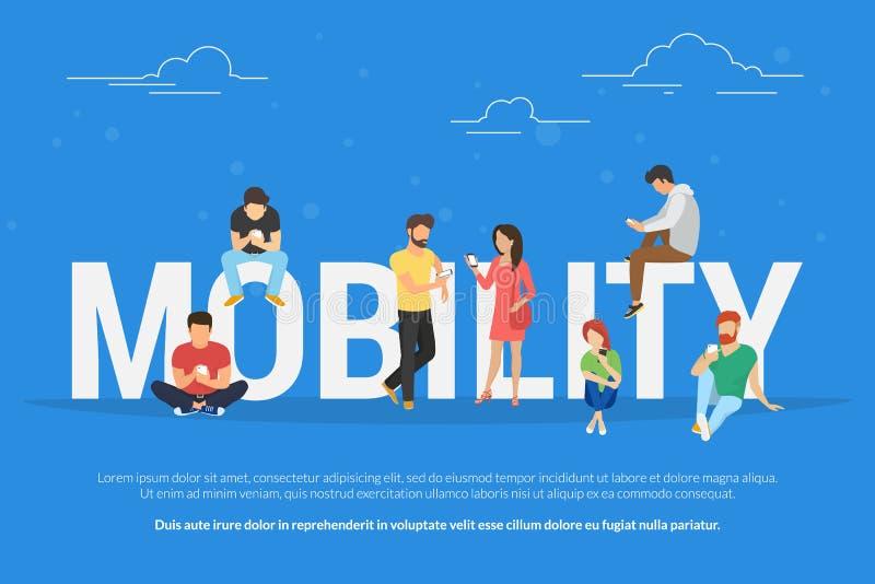 流动性概念使用流动智能手机的青年人的传染媒介例证 向量例证