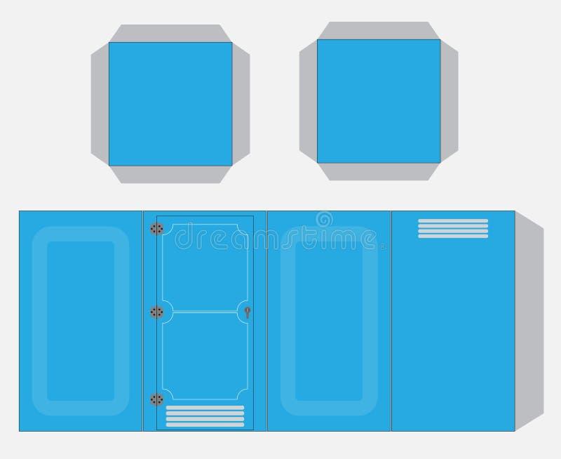 流动手纸模型、裁减和胶浆传染媒介和例证 向量例证