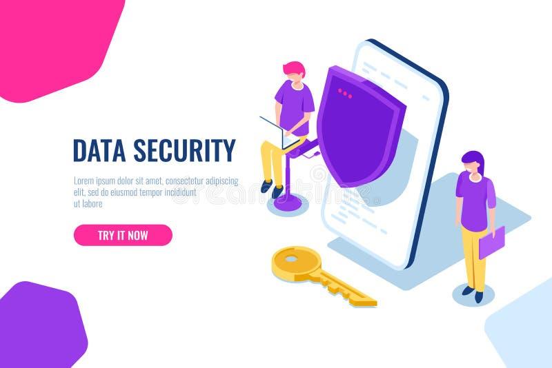 流动数据和个人信息的保护,有盾的手机和钥匙,数据存取概念,等量 皇族释放例证