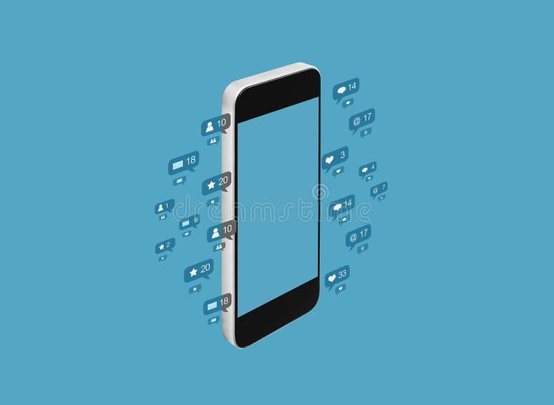 流动智能手机,在蓝色背景的社会媒介通知象 向量例证