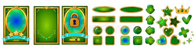 流动比赛ui设计的平实背景卡片 胜利丝带巫婆星 按钮集合 库存例证
