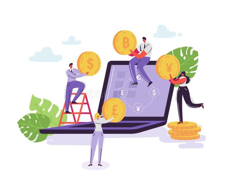 流动汇兑服务 与字符和金钱的网路银行概念 商人和女商人 库存例证