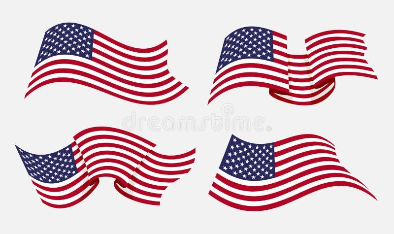 流动的平的美国国旗 皇族释放例证