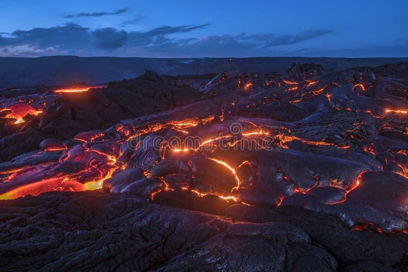 流动的熔岩在夏威夷 免版税库存照片