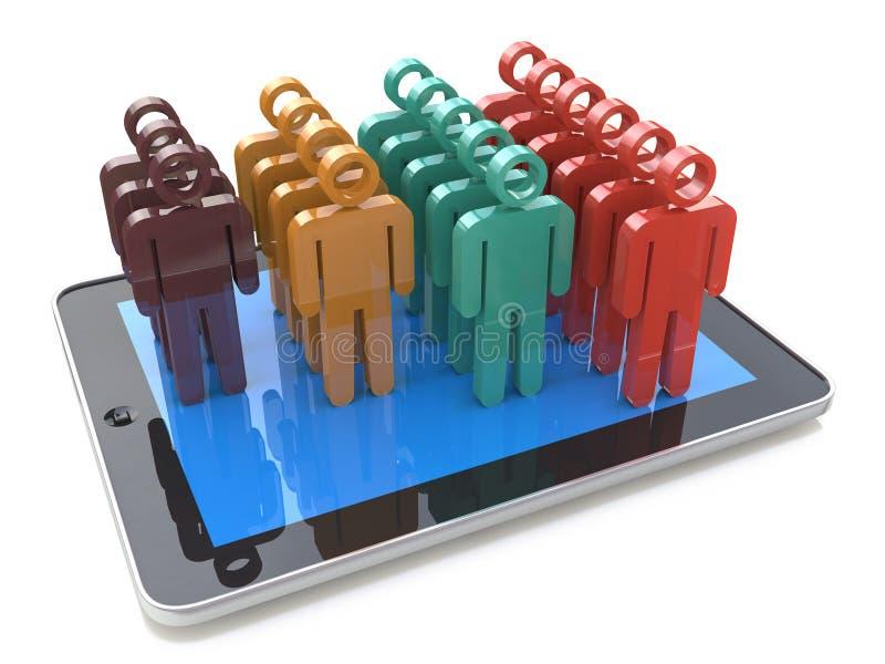 流动社会媒介网络和客户浓缩管理的成长 向量例证