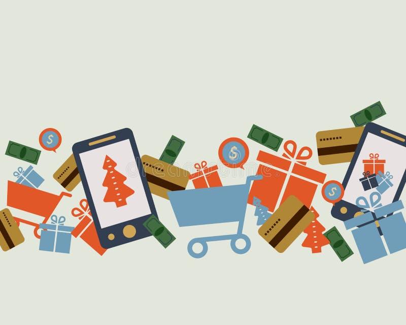 流动网上商店,智能手机,推车:手机的概念 皇族释放例证
