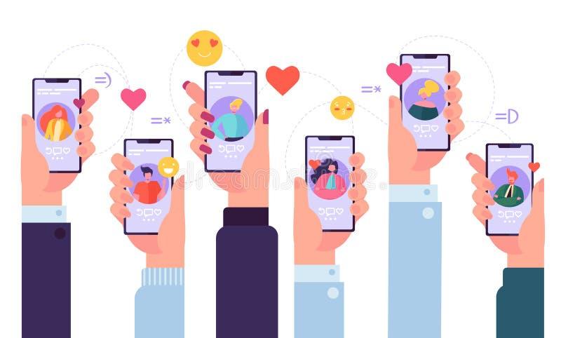 流动网上约会的服务应用 拿着有男人和妇女外形拉丁文的应用程序的许多手智能手机 向量例证
