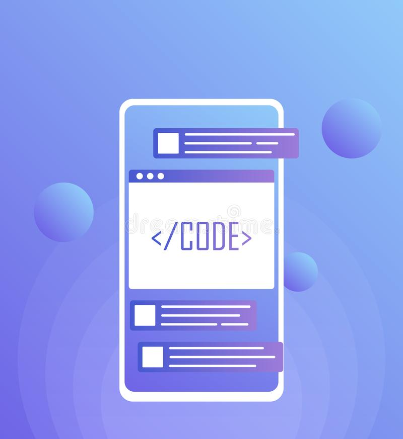 流动网发展概念,流动app 现代平的样式例证 向量例证