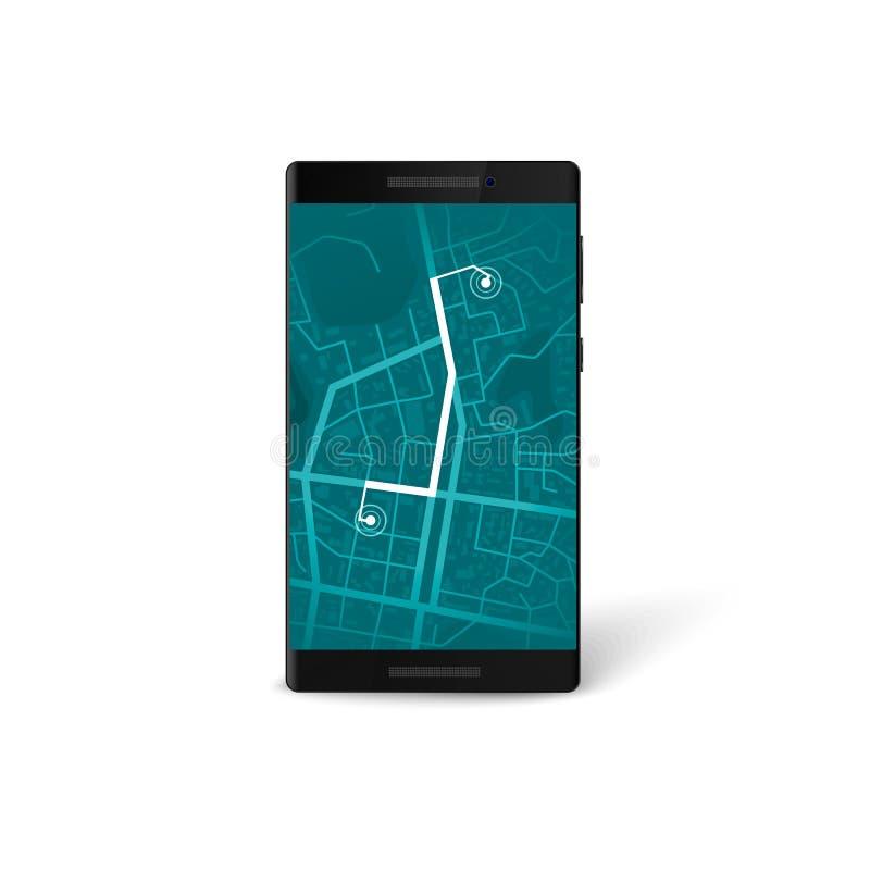 流动航海app接口 地图和gps航海概念 在电话屏幕上的城市地图有明显的路线的 向量 向量例证
