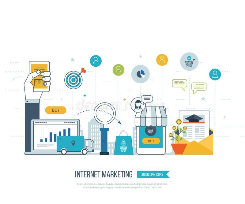 流动营销概念 拟订dof重点现有量在线浅购物非常 客户购物的超级市场 投资事务 发运 向量例证
