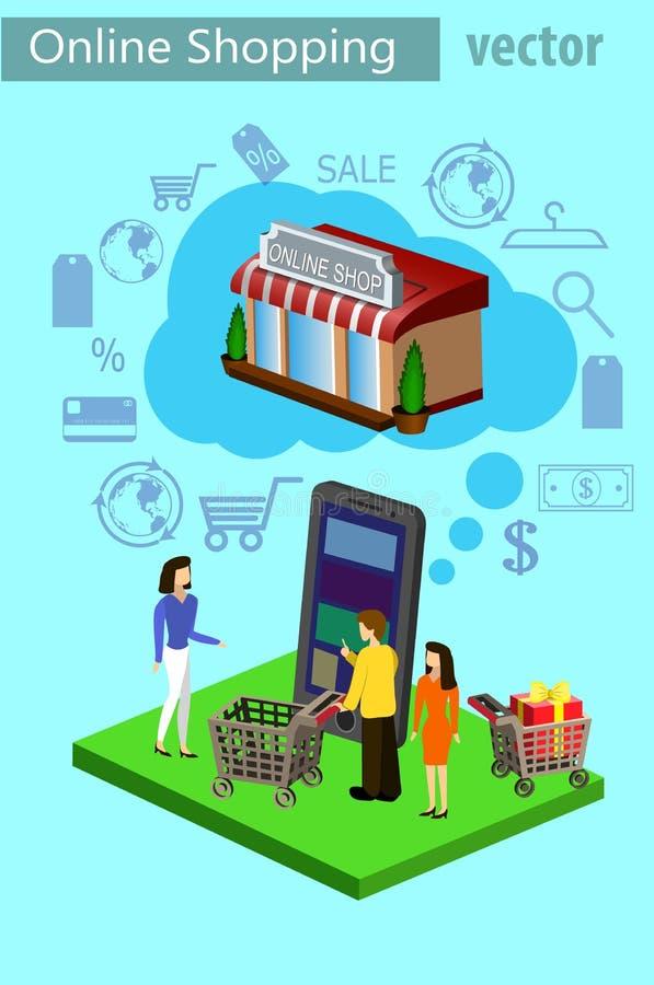 流动购物电子商务 库存例证