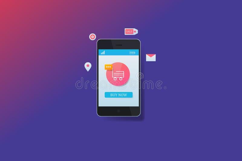 流动购物,在智能手机的数字营销,手推车在手机,网横幅的应用陈列 库存例证
