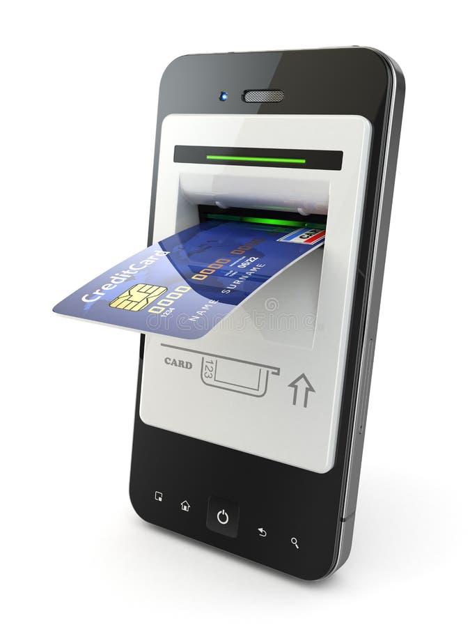流动银行业务。作为atm和信用卡的手机。 皇族释放例证