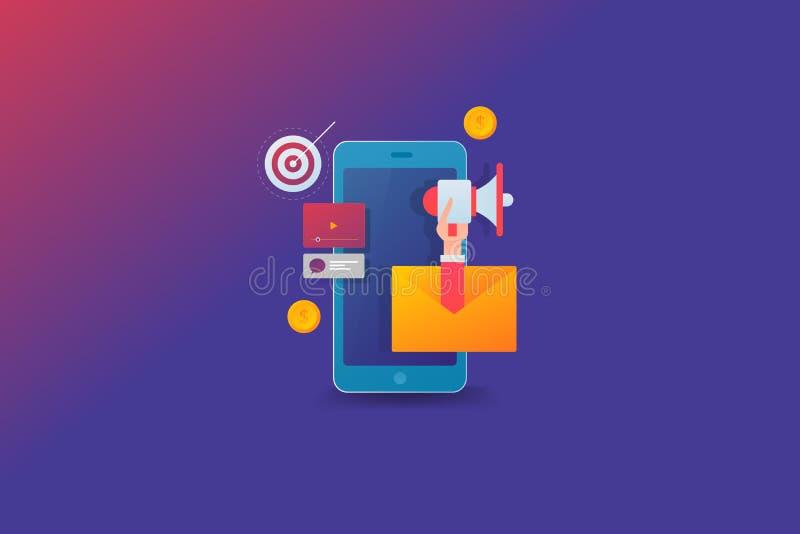 流动销售的数字媒介促进,在巧妙的设备,手藏品扩音机,社会媒介,通信的美满的营销 向量例证