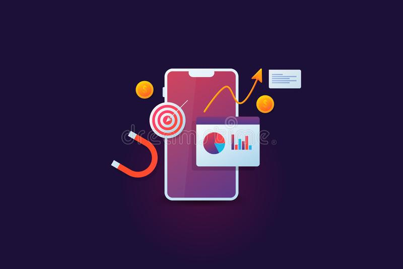 流动销售的逻辑分析方法,目标市场,显示在与收支成长的智能手机显示,金钱,大磁铁的企业数据, 向量例证